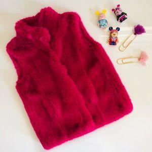 Miss blumarine faux fur girls pink down vest